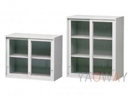 玻璃加框拉門『上置式』鋼製公文櫃(高度:74/106)