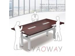 八人電動會議桌(規格色)210X90桌面 四桌腳