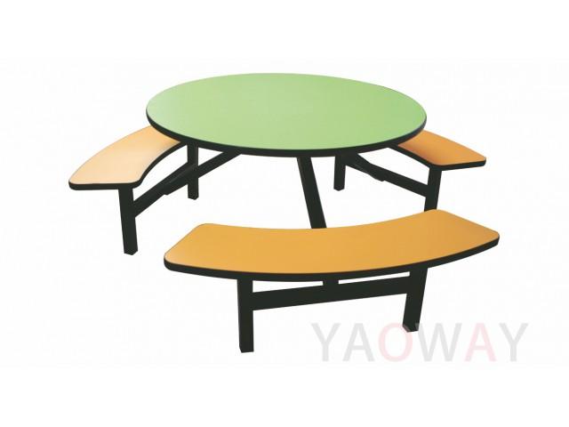 室內外餐桌椅組 (座椅相連)